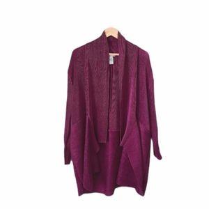CATHERINES Cardigan Jacket Draped Front Fushia